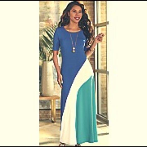 961174b2c43f Ashro Dresses | Tai Knit Cobalt Multi Maxi Dress Sz3xl Nwt | Poshmark